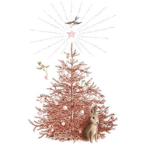 Weihnachtskarte/Postkarte Weihnachtsbaum mit Hase