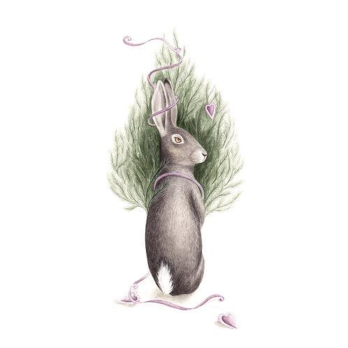 Weihnachtskarte/Klappkarte Hase mit Weihnachtsbaum