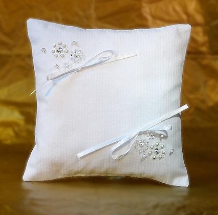 Coussin porte-alliances éclat blanc et cristal