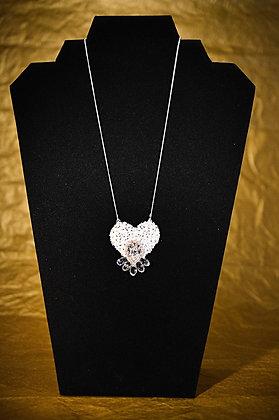 Pendentif cœur blanc et argent