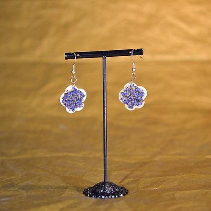 Boucles d'oreille fleur bleu, bronze et or