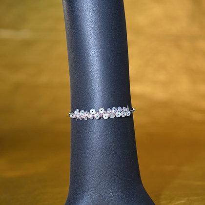 Bracelet argent irisé et rose pâle
