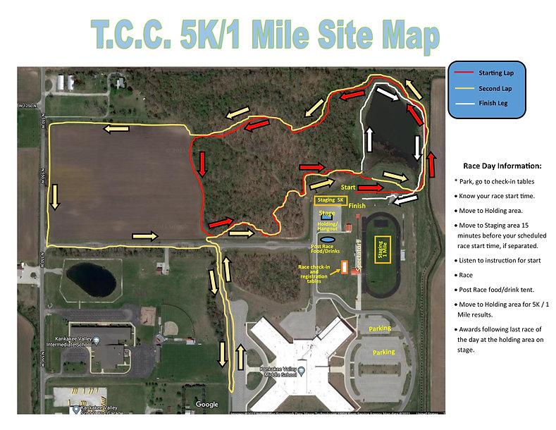 Site Map for 5K-1 Mile T.C.C. Fundraiser