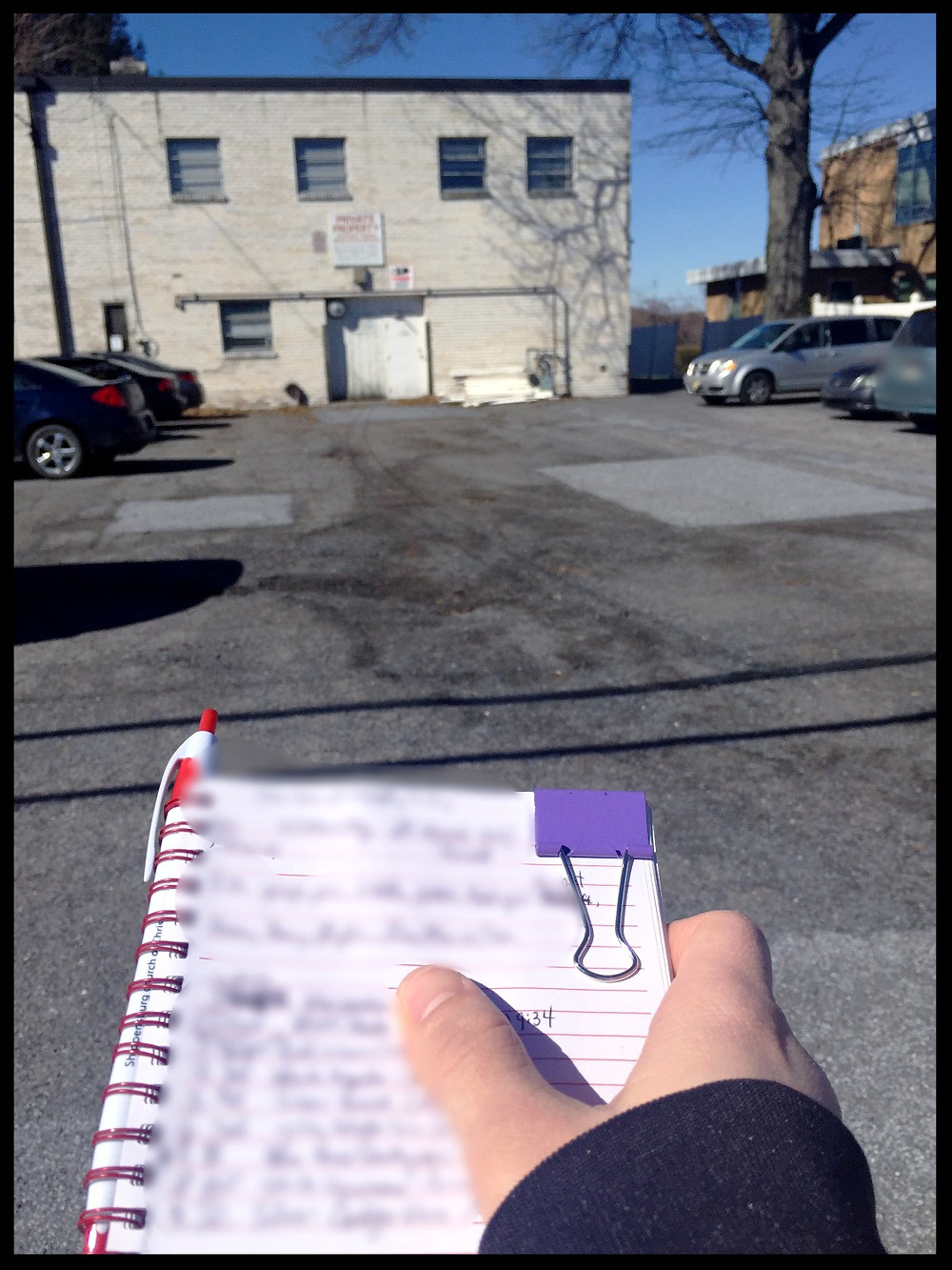 The notebook. (Used to make sure we don't miss anyone who goes inside).