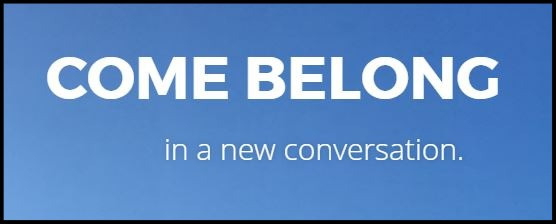 """Come Belong"" the Revoice conference website beckons me."