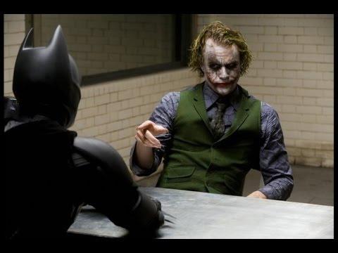 "Scene from The Dark Knight. The Joker tells Batman, ""You complete me."""