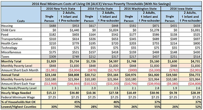2016 ALICE Minimum Costs of Living NY FL