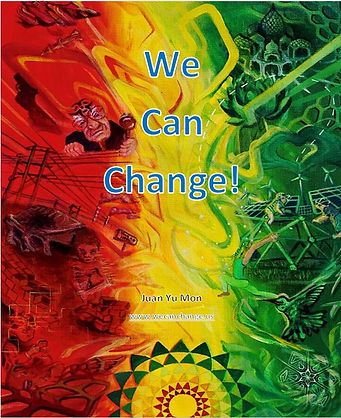 Painted cover art.  Left side red with problematic images. Right side green with healthy images.  Center yellow with abstract images and title.