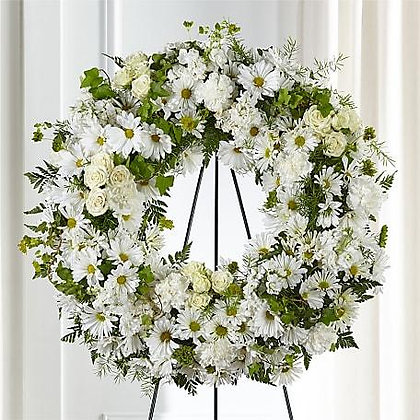 Funeral Easel - Round Wreath