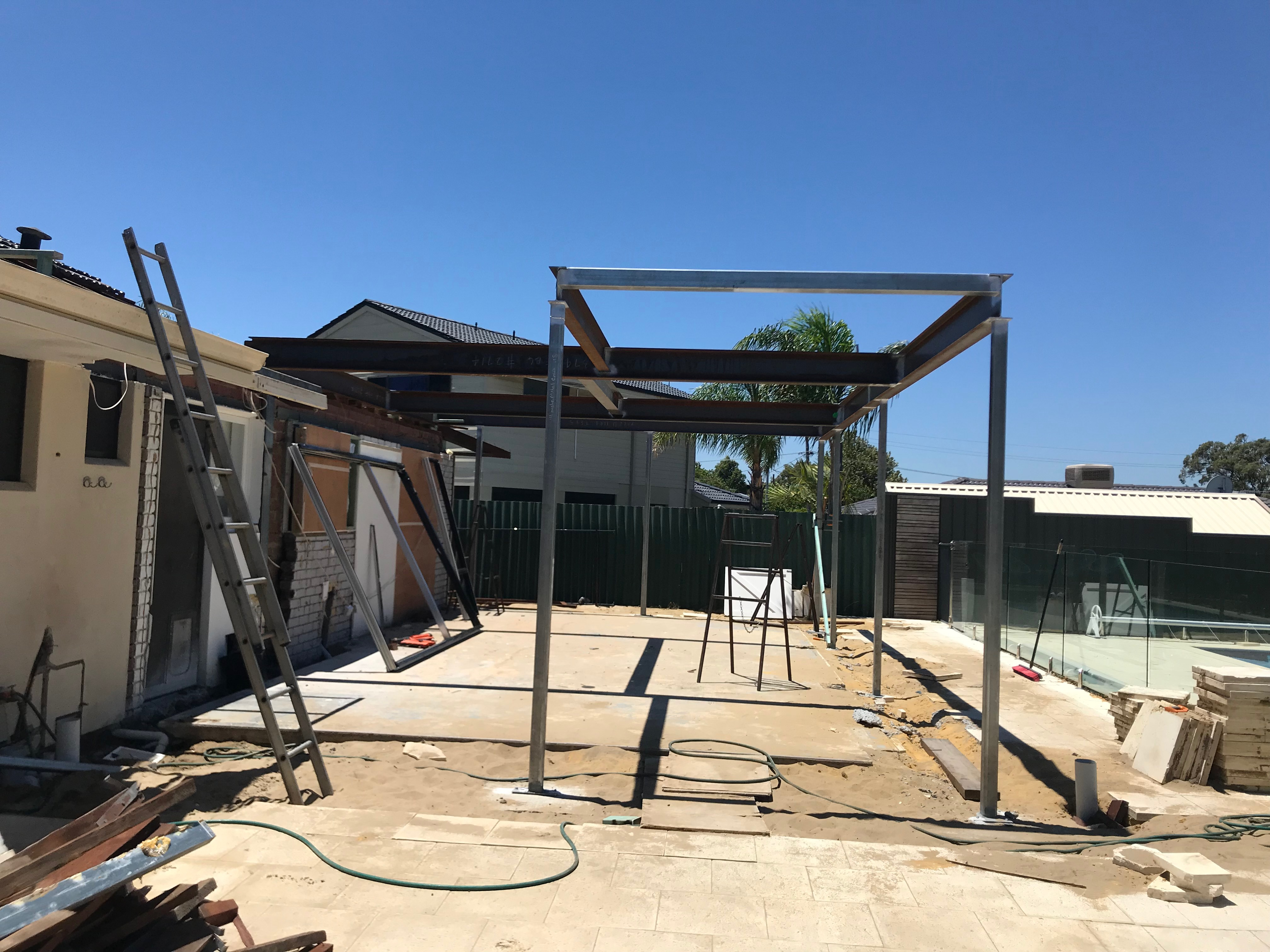 Steel completed to rear