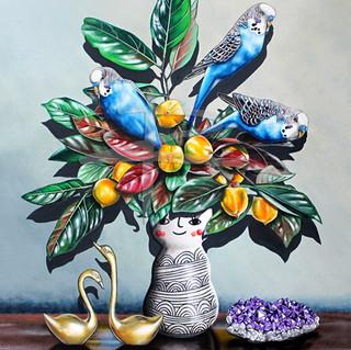 Blooming Blue Budgies Ltd Ed Print on Canvas