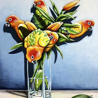 Sun Conure Lilies Ltd Ed Canvas Print