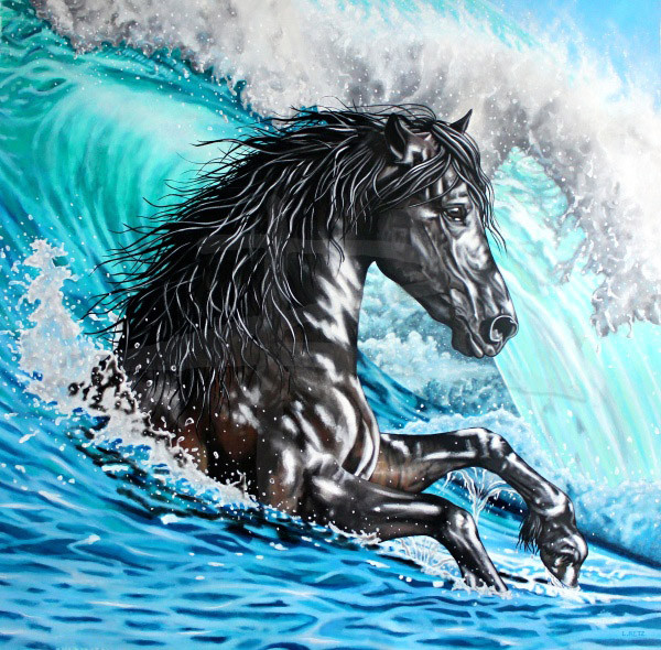 Black Horse Painting On Canvas - Shetan