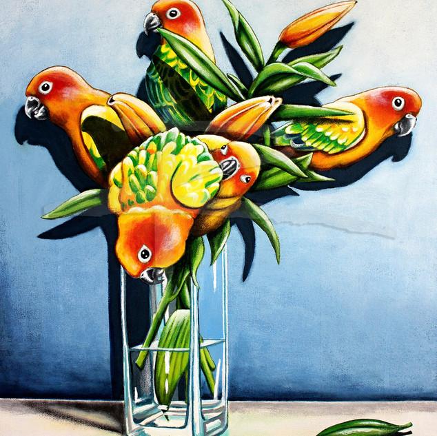 Sun Conure Lilies Ltd Ed Fine Art Print