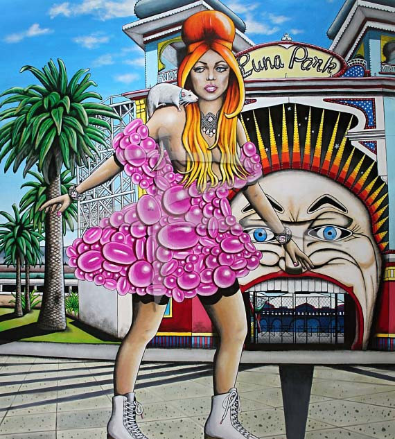 Surreal Female Pop Art Acrylic Painting - Prettier in Pink