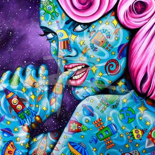 Acrylic Pop Art Portrait On Canvas | Star Dust