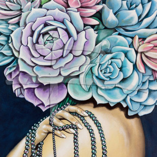 Large Succulents Acrylic Painting On Canvas - Black Pearls