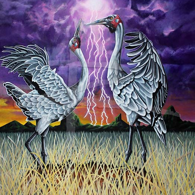 Large Bird Art Painting - Rain Dance