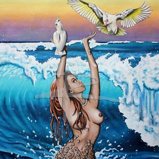 Large Acrylic Nude Painting On Canvas - Collum Corellas