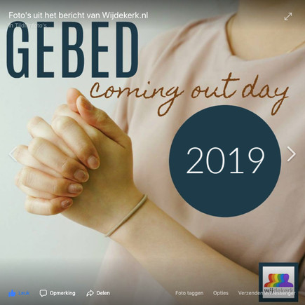 Gebed Coming Out Dag 2019