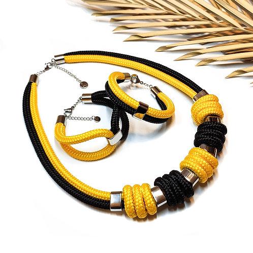 Enola kötél nyaklánc - napsárga/ fekete