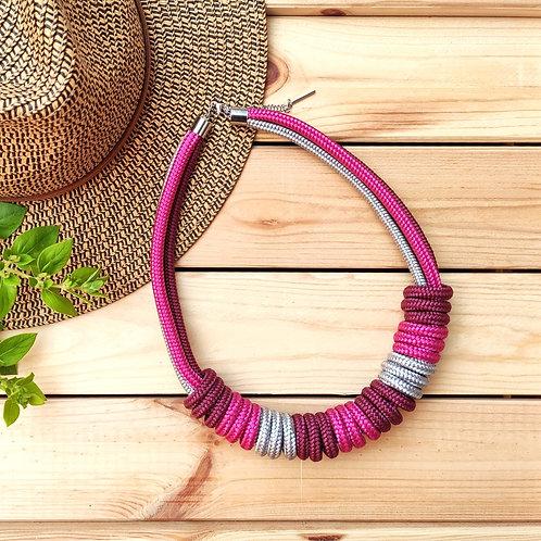 Nara kötél nyaklánc - magenta/ezüst