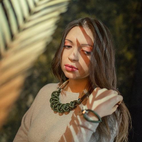 Ayla kötél nyaklánc - khaki zöld