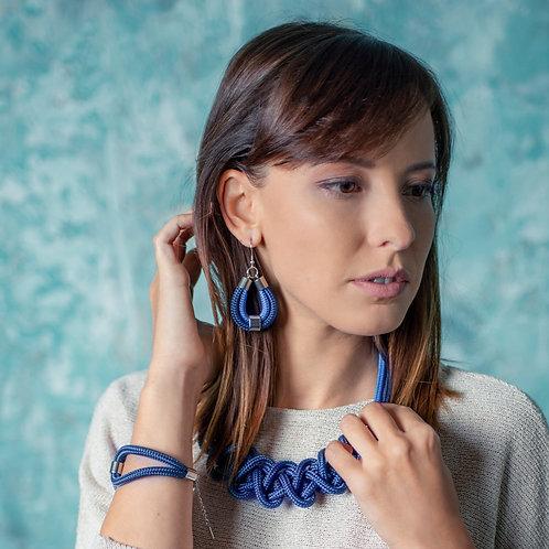 Dena kötél fülbevaló - sötétkék/középkék