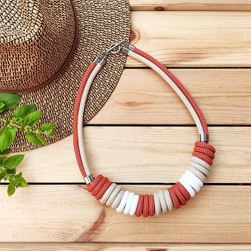 Nara kötél nyaklánc - vörös/bézs