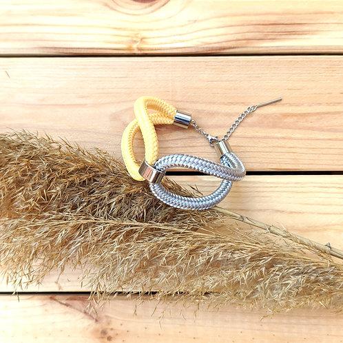 Elara kötél karkötő - pasztell citrom/ezüstszürke