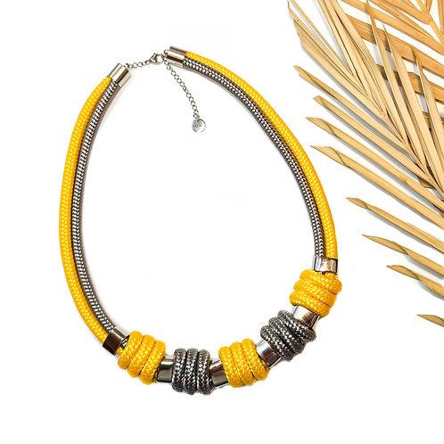 Enola kötél nyaklánc - napsárga/ szürke