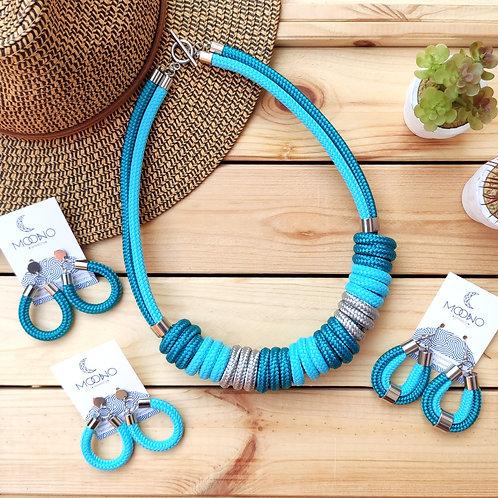 Nara kötél nyaklánc - türkiz
