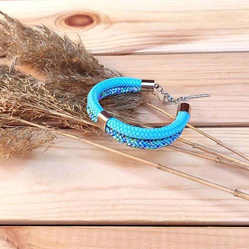 Dena kötél karkötő - égkék/cirmos kék