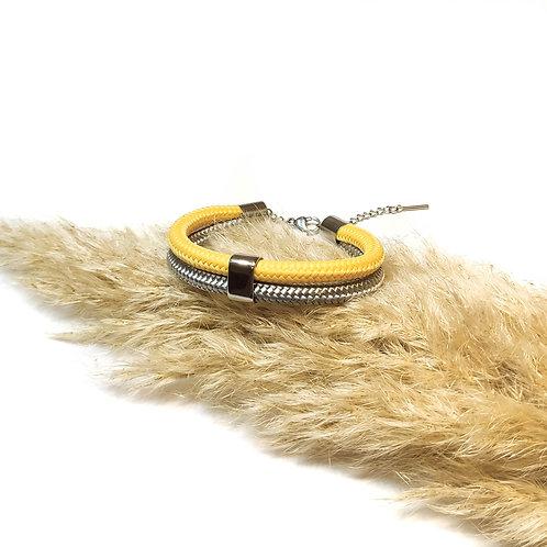 Dena kötél karkötő - vanília/ ezüstszürke
