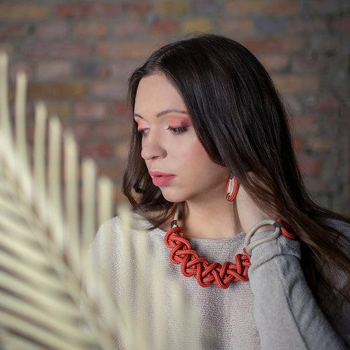 Ayla kötél nyaklánc - téglavörös