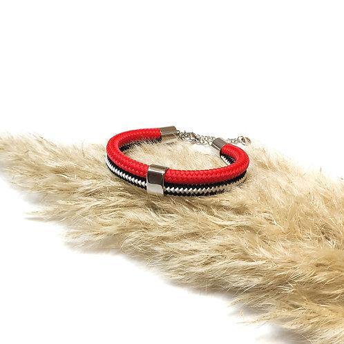 Dena kötél karkötő - piros/ csíkos