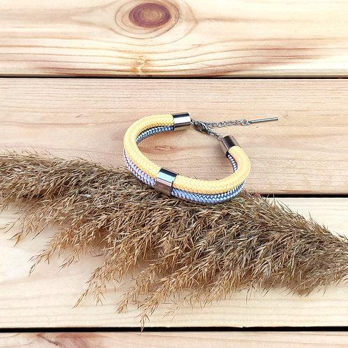 Dena kötél karkötő - pasztell citrom/ezüstszürke