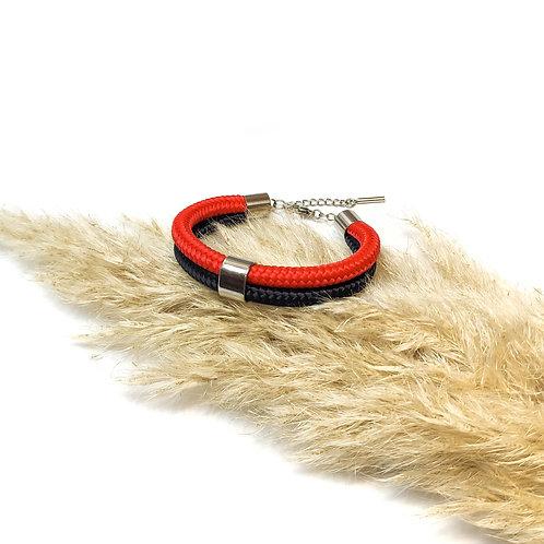 Dena kötél karkötő - piros/ fekete