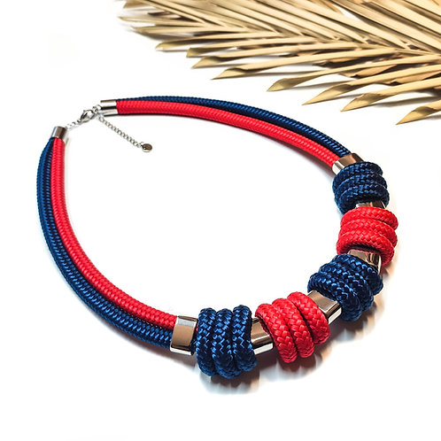 Enola kötél nyaklánc - piros/ sötétkék