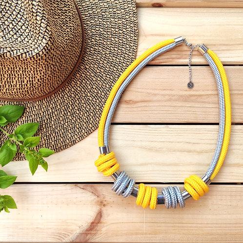 Enola kötél nyaklánc - napsárga/ezüstszürke