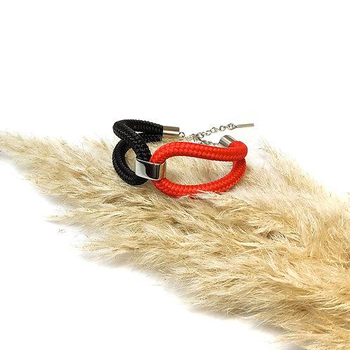 Elara kötél karkötő - piros/ fekete