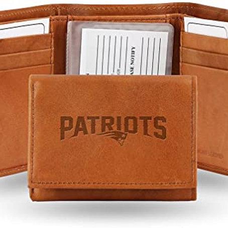 NE Patriots Tri-Fold Leather Wallet