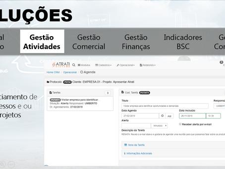 Sistema CRM Web - registar ou agendar atendimentos, controlar projetos e atividades