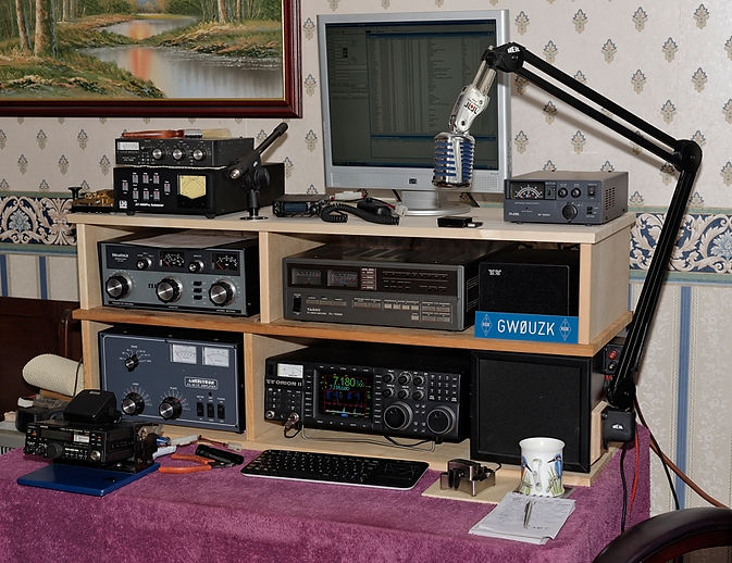 amateur radio station, tentec orion 2, heathkit atu, yaesu and ameritron linear amplifiers