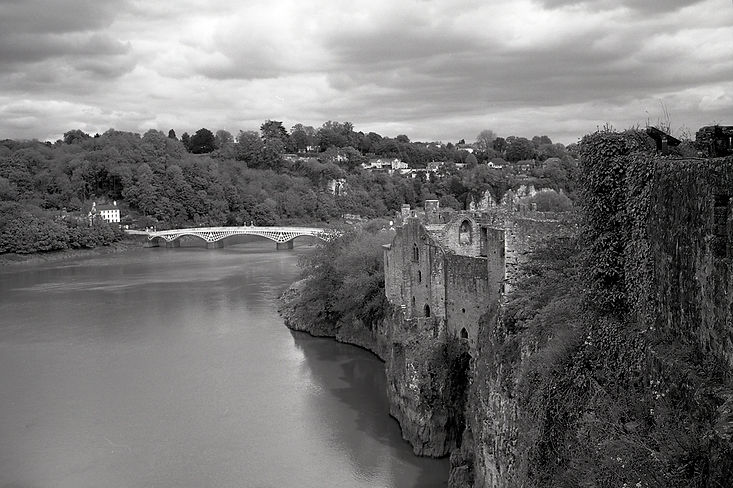 View from Chepstow castle - scanned black and white negative