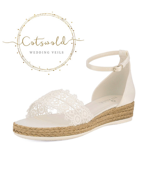 Beautiful Bridal Sandals, Ivory Satin, Lace & Rope Brides Wedge Shoes