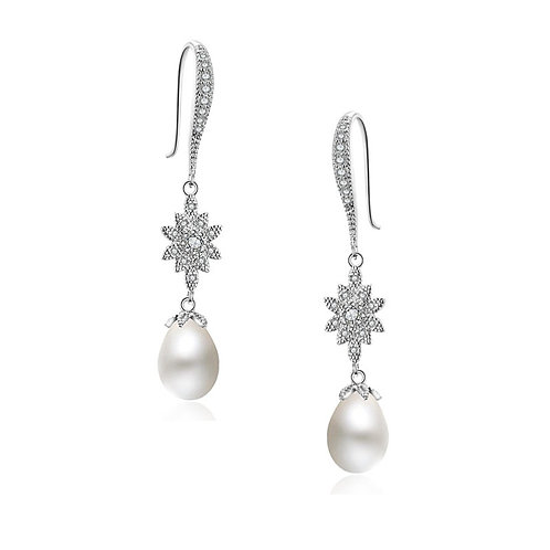 Glitzy Glam Pearl Drop Earrings, Available in Silver, Bridal Accessories, Bridal