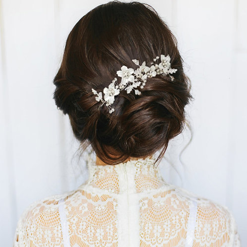 Bridal Hair Comb, Floral Romance Hair Comb, Silver, Rose Gold or Gold