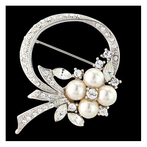 Exquisitely Vintage Pearl & Crystal Brooch, Crystal Dress Brooch, Available in S