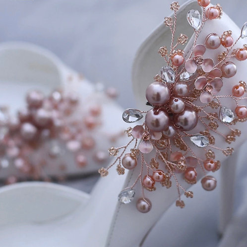 Luxe Rose Gold Pearl, Crystal & Floral Shoe Clips, Bridal Shoe Clips, Shoe Brooc